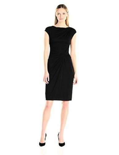 Primary image for Anne Klein Women's Black Jersey Stretch Double Twist Front Dress Size 8 $120