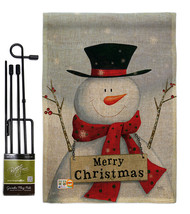 Joyful Snowman Burlap - Impressions Decorative Metal Garden Pole Flag Se... - $33.97
