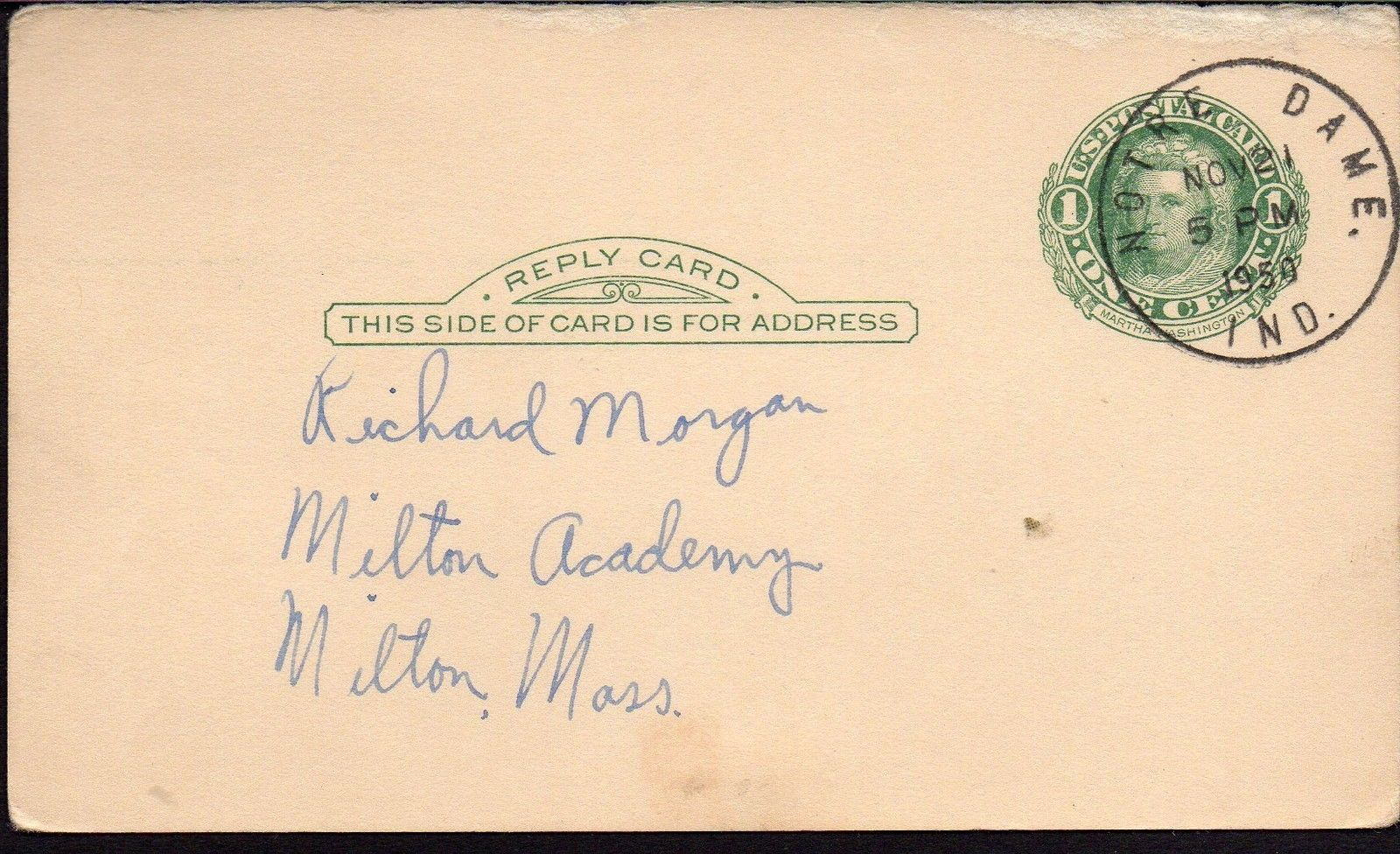 FRANK LEAHY Autograph. Signed on a government postcard. Famed Notre Dame coach.