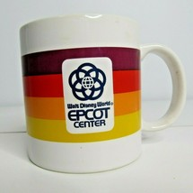 Vintage 80s Disney Epcot Center Rainbow Stripe Coffee Cup Walt Disney World - $20.10
