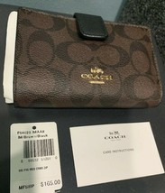 New! Coach Signature PVC Medium Corner Zip Wallet Brown Black  F54023 $165 - $64.34