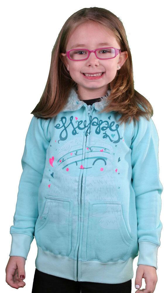 Iron Fist Girls Kids Happy Camper Aqua Hoodie Sweater w Fur Hood IFK0088 NWT