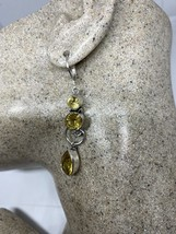 Vintage Citrine Lever Back Earrings 925 Sterling Silver - $67.32