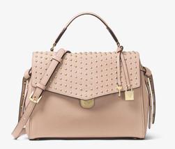 Michael Kors Bristol Medium Studded Leather Satchel Bag Soft Pink New NW... - $246.51