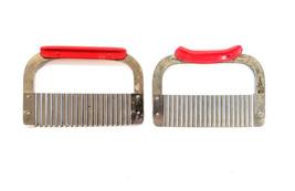 Stainless Steel Slicer Chopper - Wavy Crinkle Cutter Huot Red Handle Lot... - €16,41 EUR