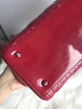 AUTH Christian Dior Lady Dior Large Red Patent Leather Cannage Shoulder Tote Bag image 5