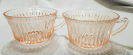Vtg Anchor Hocking Depression Glass Pink Queen Mary 2 each Cups Only, 19... - $13.50