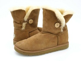UGG Womens 6 Brown Solid Leather Pull On Shearling Fur Ankle Winter Boots EUR 36 - $34.99