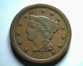 1854 Large Cent Penny Very Fine /EXTRA Fine VF/XF Very FINE/EXTREMELY Fine VF/EF - $48.00