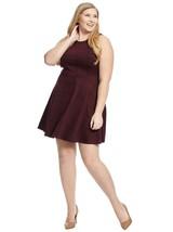 Leota Power Plaid Ava Dress Womens XL Burgundy Fit Flare Sleeveless B47-03 - $11.53