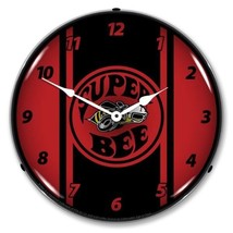 Retro Style Super Bee Red Lighted Backlit Wall Clock Sign Man Cave NEW - $129.95
