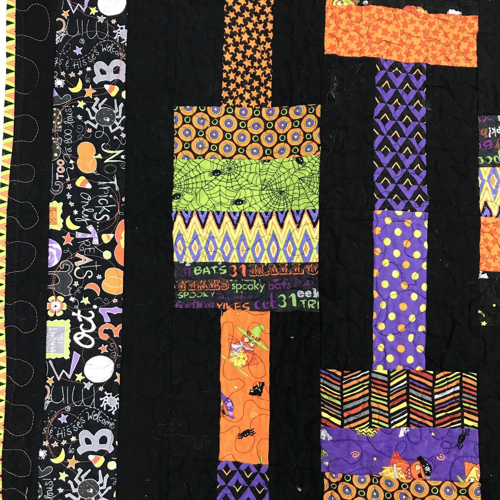 "Halloween Lap Quilt Throw Handmade Cotton Black Orange Purple Prints 50"" by 41"""