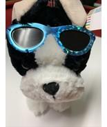 "Plush Black & White Beach Dog in Rainbow Swim Trunks Plush 11""L NWT - $14.01"