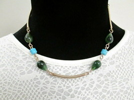 Vtg Signed Sarah Coventry Gold Tone Blue Green Bead Necklace  Oriental Mood - $7.00