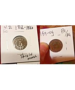 "Lot of 4 Old NICKELS 1 'No Date' Shield Nickel & 3 ""V""  1901, 1904, 1908 Nickels - $12.00"