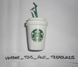 STARBUCKS Café Céramique 2016 Sapin de Noël Ornement Blanc & Vert Tasse ... - $20.77