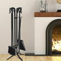 Modern Durable 5pc Black Fireplace Iron Standing Tools Set - $100.65