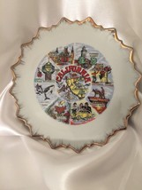 VINTAGE MADE IN JAPAN 1970's CALIFORNIA SCENIC SIGHTS CERAMIC PLATE GOLD... - $12.19