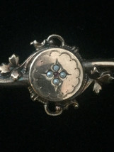 Victorian Pearl Inlaid Mourning Brooch/Bar Pin