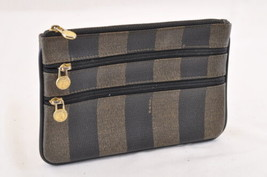 FENDI Pequin Canvas Pouch Black Khaki PVC Leather Auth ar985 - $88.00