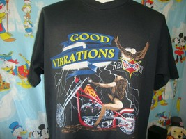 Vintage 90's Rebel Rider Good Vibrations Biker T Shirt XL  - $74.24