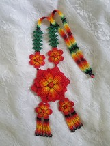 Red & Green Beaded Mexican Huichol 3D Flower Necklace : Handmade Jewelry... - $54.00