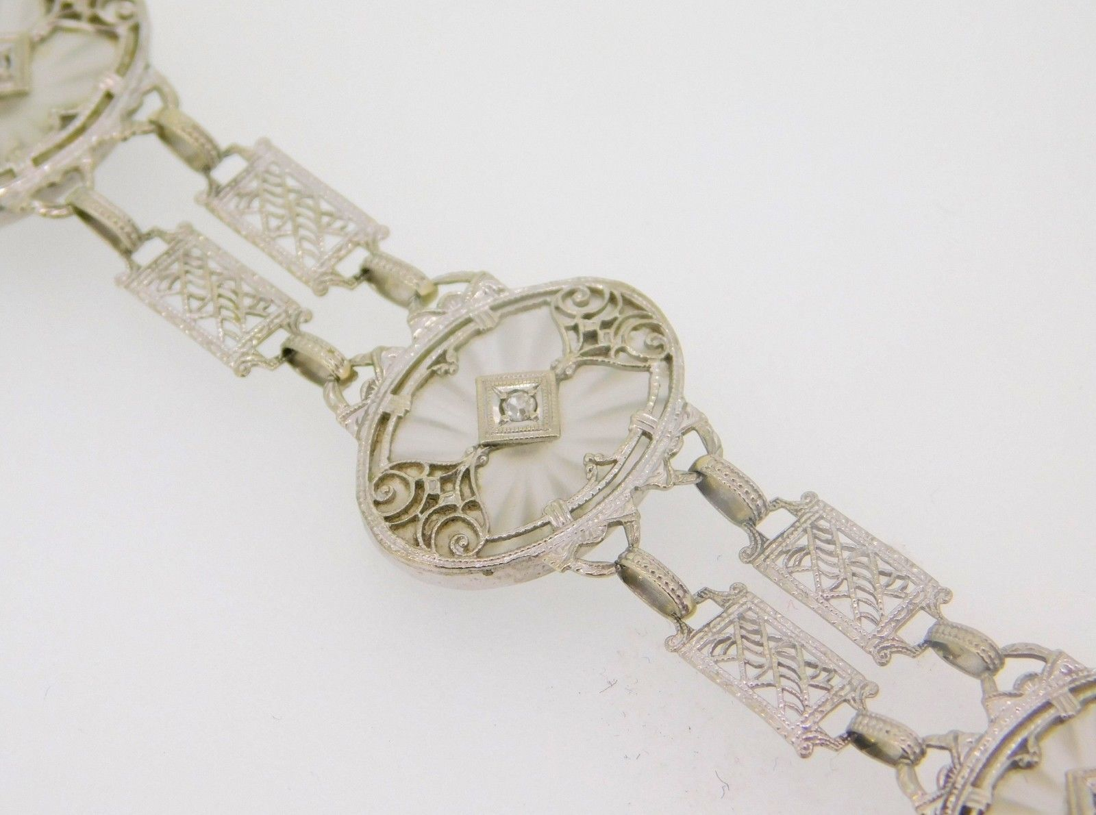 10k Gold Filigree / Art Deco Genuine Rock Crystal Bracelet w/ Diamonds (#J4024)