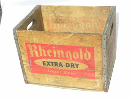 Vint 1950 Rheingold Extra Dry Lager Beer Liebmann Breweries, NY Wooden C... - $99.99