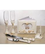 Beach Summer Seashell Wedding Set Accessories Reception Guest Book Flute... - $59.98