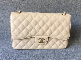 NEW AUTHENTIC CHANEL BEIGE CAVIAR QUILTED JUMBO DOUBLE FLAP BAG GHW