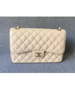 NEW AUTHENTIC CHANEL BEIGE CAVIAR QUILTED JUMBO DOUBLE FLAP BAG GHW - $4,150.00