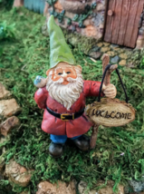 1 Pcs Miniature Garden Fairy Gnome With Welcome Sign - DL - $24.00