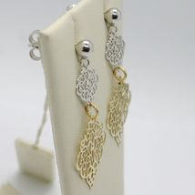Drop Earrings Yellow and White Gold 750 18K, Double Rhombuses Worked image 3
