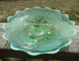 Vintage Northwood Glass Lattice & Medallions Green Opalescent Footed Bow... - $26.93