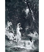 NUDE Ladies Bathing in Forest Lake - 1888 Fine Antique Print - $33.75