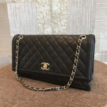 100% Authentic Chanel BLACK QUILTED LAMBSKIN LARGE FLAP BAG GHW image 3