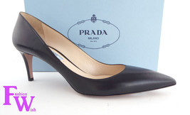 New PRADA Size 8.5 DONNA Black Leather Pointed Pumps Classic Heels Shoes 39 - $389.00