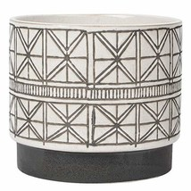 Geometric Ceramic Planter White Flower Pot Large Rustic Textured Stonewa... - $63.52