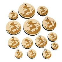 Surfing Surfer Girl on Wave Mini Wood Shape Charms Jewelry DIY Craft - Various S - $9.99