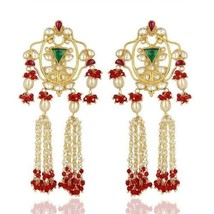 76.71 Ct Yellow Pearl And Coral Gemstone 925 Silver Jhumka Earrings Jewelry - $279.18