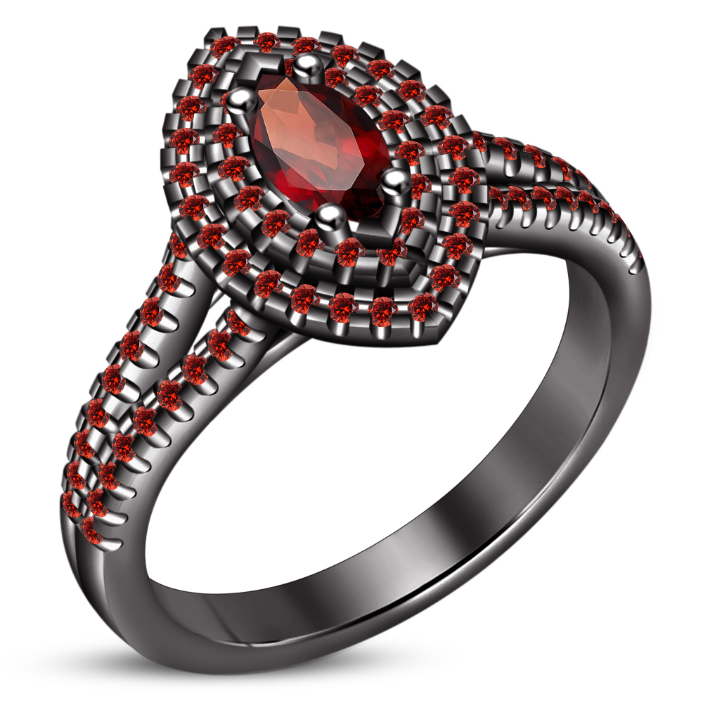 Women's Anniversary Ring Marquise Shape Red Garnet Black Gold Plated 925 Silver
