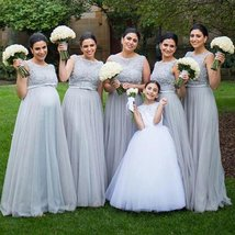 A Line Gray Tulle Bidesmaid Dress Lace Appliqued Prom Party Gowns Sexy 2019 - $113.22