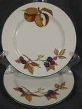 Royal Worcester Evesham Vale Bread Butter Plates Lot of 2 England Apples Berries - $27.95