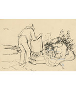 Harold Hope Read (1881-1959) - Signed 1922 India Ink, Study of a Family - $131.19