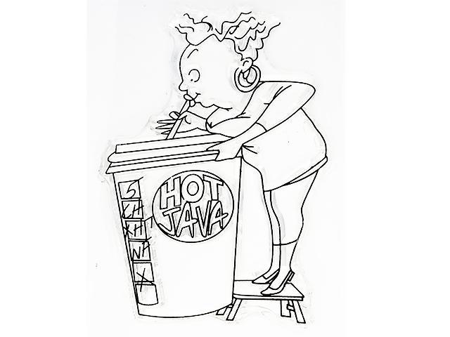 Woman Drinking Hot Java Clear Stamp
