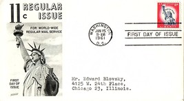 June 15, 1961 First Day of Issue, Fleetwood Cover, Statue of Liberty - $1.09