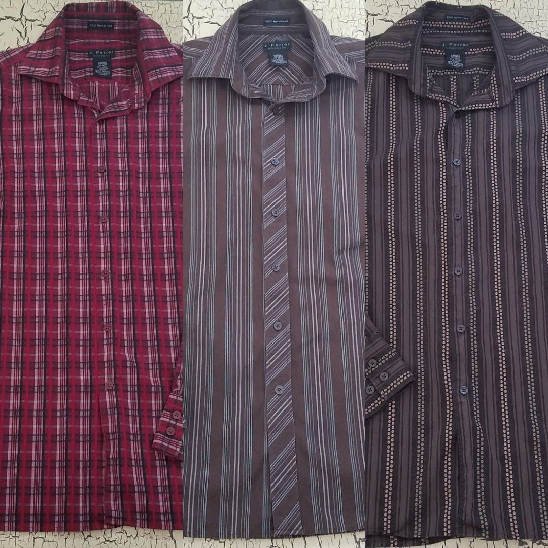 Primary image for Lot of 3 J. Ferrar Mens Button Up Dress Work Casual Shirts Mercerized 16-16.5 L