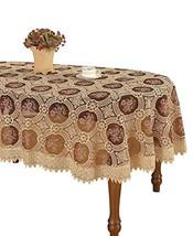 Simhomsen Vintage Burgundy Lace Tablecloth Maroon Translucent Gauze Oval... - $31.29