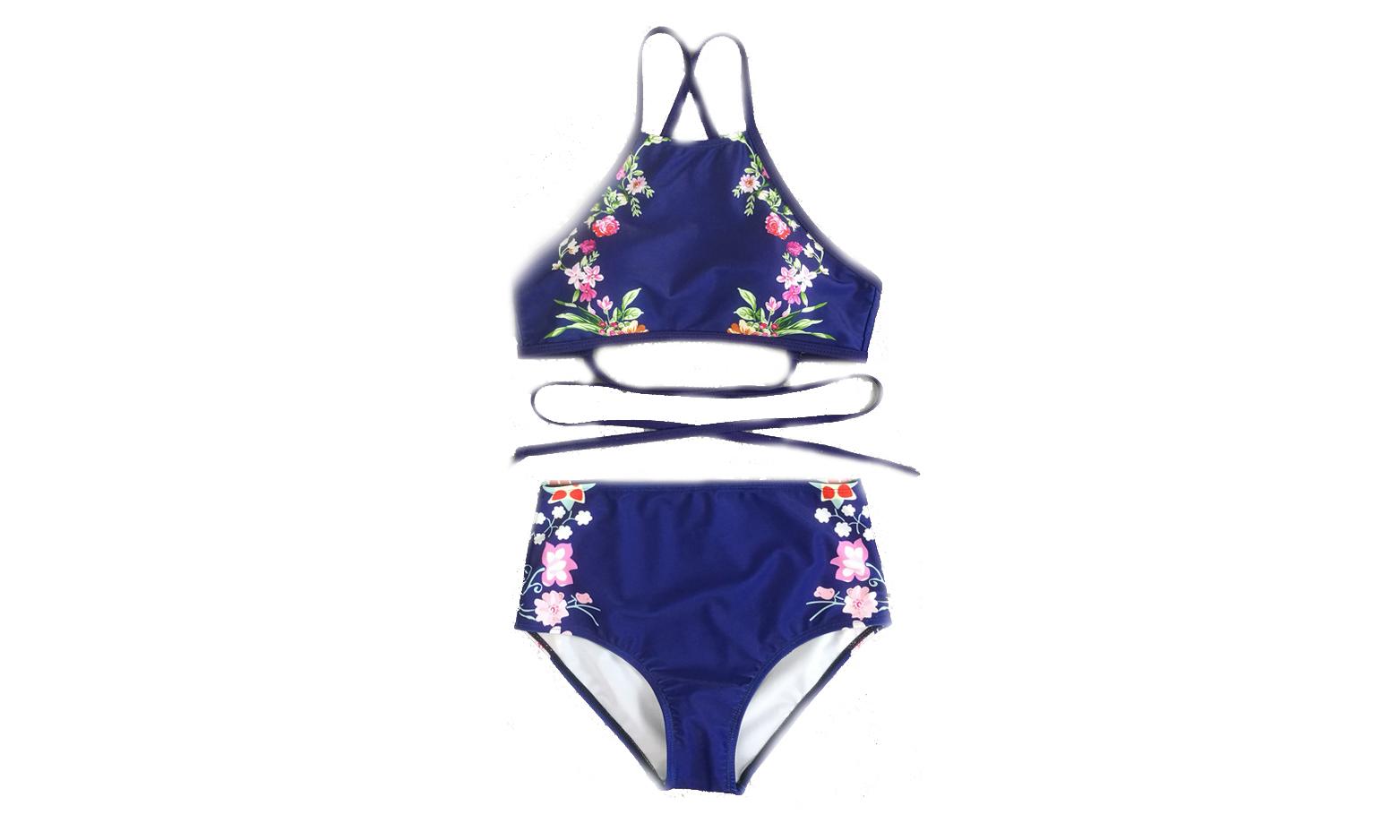 Women's Halter Floral Printed Two Pieces Bikini Set