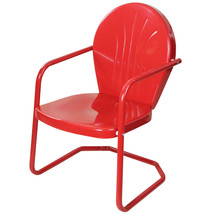 LB International Outdoor Retro Metal Tulip Armchair, Red - $73.00